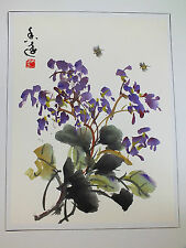 CHINESE HAND PAINTED BRUSH PAINTING WALL PICTURE PURPLE ORCHID JAPANESE PARTY V