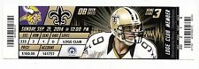 2014 NO SAINTS VS MINNESOTA VIKINGS TICKET STUB 9/21 TEDDY BRIDGWATER DEBUT