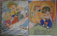 Lot of 2 VINTAGE 40's RUTH NEWTON MOTHER GOOSE WOODEN JIGSAW PUZZLES