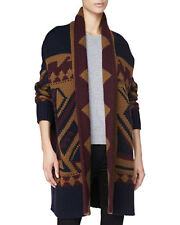 Burberry Brit AUTH NWT Long Blanket Knit Coat Wrap Cardigan L Graphic Dark Plum