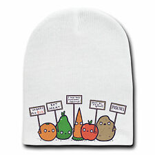 Funny Vegetables with Protest Signs Against Vegans Beanie Skull Cap Hat Winter