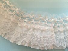 "Ruffle Pleated Lace Elastic Stretch Trim 2.5"" 6.5cm **DIFFERENT COLOURS*** 1YARD"
