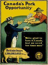 Propaganda de la industria de la agricultura la producción porcina Canadá Guerra Primera Guerra Mundial Poster lv3701