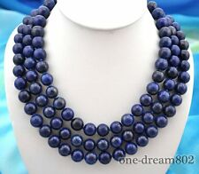 "3row 22"" 12mm round blue Lapis Lazuli necklace"