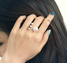 Allure Tags - Trendy Golden Punk Pearl Rhinestone Finger Ring Set For Girls