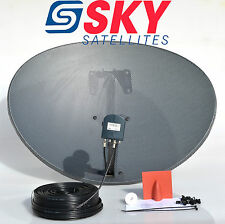 Zone 2 Sky Freesat Satellite Dish & MK4 Octo Lnb + 50M Black Twin Coax Cable Kit