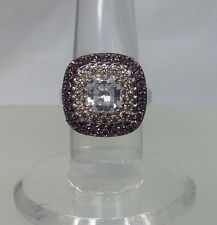 New Victoria Wieck Sterling Silver Halo Smokey Topaz Absolute CZ Ring Size 7