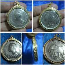 Silver Coin in Gold Locket Pendant Thai Amulet King Rama 5 HS 1249 G11-CA