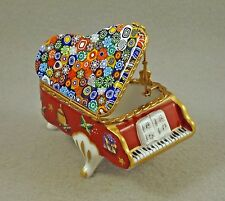 PORCELAIN FRENCH LIMOGES TRINKET BOX CHRISTMAS GRAND PIANO W MURANO MILLEFIORI