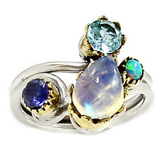 Two Tone - Moonstone & Blue Topaz 925 Silver Ring Jewelry s.7.5 SR196966