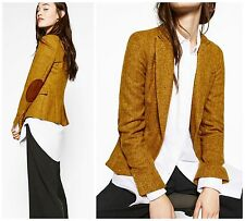 STUNNING ZARA OCHRE 100%  WOOL BLAZER WITH  ELBOW PATCHES SIZE L
