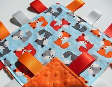 Taggie Blanket Baby Foxes Cotton fabric Handmade Taggy with Orange Soft Minky