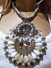 STUNNING NEW w Tag Angelique De Paris Rope Medallion Pearl Beaded NECKLACE