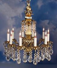 "Dollhouse Miniature Lighting Electrical CHANDELIER ""SCARLET"" - GOLD Handcrafted"