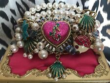 Betsey Johnson Jewels Of The Sea Heart Lucite Pearl Starfish Bracelet Horse