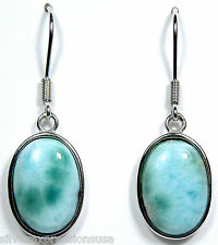 15x10mm Natural AAA Oval Dominican Larimar 925 Sterling Silver Dangle Earrings