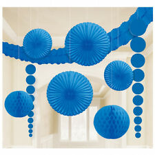 9 x Royal Blue Hanging Paper Party Decorations BLUE Fans Honeycombs garland