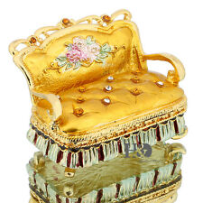 Golden Sofa Metal Trinket Box Collectibles Jewelry Ring Holder Wedding Favor