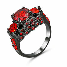 Size 7 Black Wedding Engagement red Ruby Costume Ring Statement Propose Party