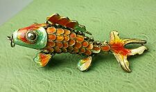 VINTAGE Chinese Articulated SILVER Cloisonne Koi Fish PENDANT LOWEST ON EBAY