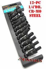 "Professional 12pc 1/4"" Drive Universal Swivel Impact Socket Set Metric Brand New"