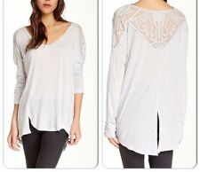 130416 Free People Gatsby Embroidered Tee Patchwork Blouse Tunic Top Medium M