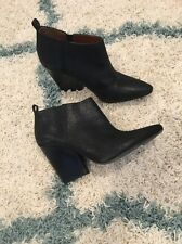 New $375 Rebecca Minkoff La Roux Black Glazed Ankle Boots Booties 10