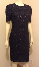 WOMEN'S SEQUINED LITTLE BLACK DRESS SZ XS S SHEER LINED PARTY COCKTAIL DRESS