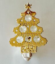 "SWAROVSKI CRYSTAL ELEMENTS ""Christmas Tree""  NIGHT LIGHT 24KT GOLD PLATED"
