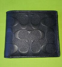 COACH MEN'S SIGNATURE EMBOSSED LEATHER COMPACT ID DOUBLE BILLFOLD WALLET, BLACK