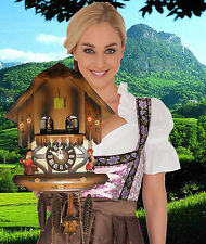 Cuckoo Clock German Black Forest working SEE VIDEO Musical Chalet 1 Day CK1099