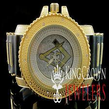 14k Yellow Gold Finish Techno Pave G Mason Masonic Bullet Band Joe Rodeo Watch