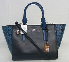 NWT Coach Crosby Carryall. Colorblock Exotic Embossed Leather Navy Blue # 36571