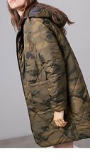 Stradivarius (Zara Group) Reversible Camouflage Padded Parka Coat Size L Uk 12