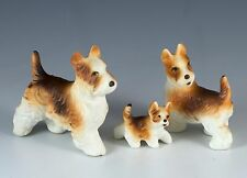 Vintage Miniature Bone China Set of 3 Scottish Terrier Dog Figurines Japan Matte