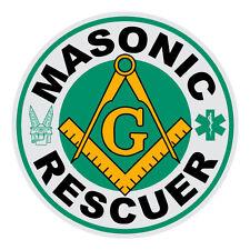 Masonic Rescuer Small Round Reflective Rescue Squad Decal