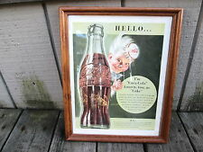 Vintage framed Coca Cola Life magazine ADVERTISEMENT from 1/12/42