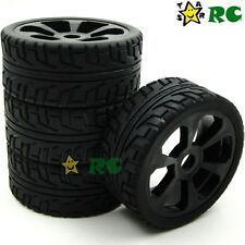 4pcs NEW 1/8 RC On-road Buggy Rubber Soft Tires Tyres & Hex 17mm Wheels Rims