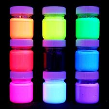 9x 30ml UV Colori Vernici Nero incl. ULTRA BRIGHT FLUORESCENTI U.V artista di qualità
