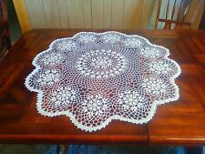 Handmade Center Piece - Small round table cloth Crochet Rose/Flower pattern