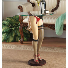 SEXY LEG RETRO SEAMED STOCKINGS RED GARTER GLASS TOP COCKTAIL BAR TABLE Man Cave