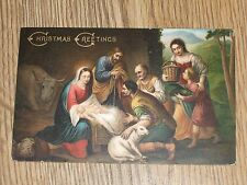CHRISTMAS GREETINGS THE NATIVITY MURILLO ROME  POSTCARD VINTAGE POSTED  1907 VGC