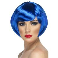 BLUE BABE WIG BOBBED SHORT BOB LADIES FANCY DRESS PARTY COLOUR NEON PERRY WOMENS
