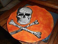 "New Mint Maxcera Halloween Skull Orange & Black 10 1/2"" Plates"