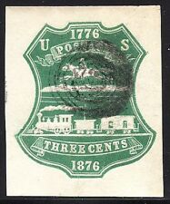 U221 3¢ Green Centennial Cut Square. Double line under Postage (REM #U221-27)