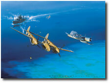 Too Close for Comfort by Jack Fellows - P-38 Lightning, Corsair