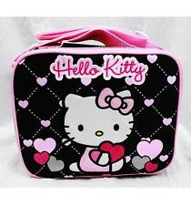 NWT Hello Kitty by Sanrio Insulated Lunch Box Bag Black Pink Heart Style!!!