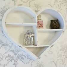 Shabby Chic Vintage Style White Wooden Heart Wall Display Cabinet Shelf Unit