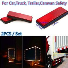 2PCS Red Plastic Reflective Warning Plate Stickers For Car Truck Night Safety