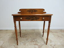 L. Hitchcock Paint Decorated Carved One Drawer Writing Desk Console
